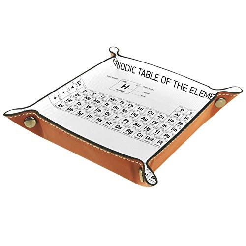 YATELI Caja de Almacenamiento pequeña, Bandeja de Valet para Hombre,Tabla periódica Blanca de los Elementos,Organizador de Cuero para Llaves de Caja de Monedas