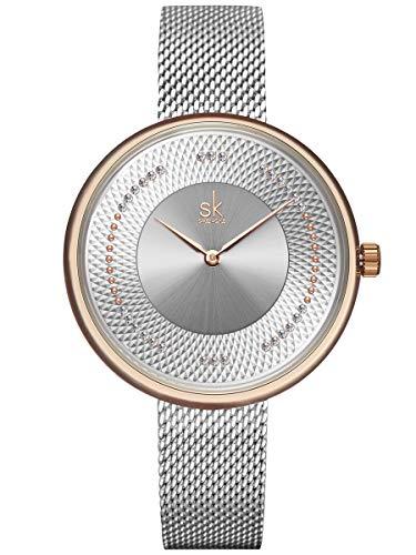 Alienwork Armbanduhr Damen Rose-Gold Metall Mesh Armband Edelstahl Silber Strass-Steinen Elegant
