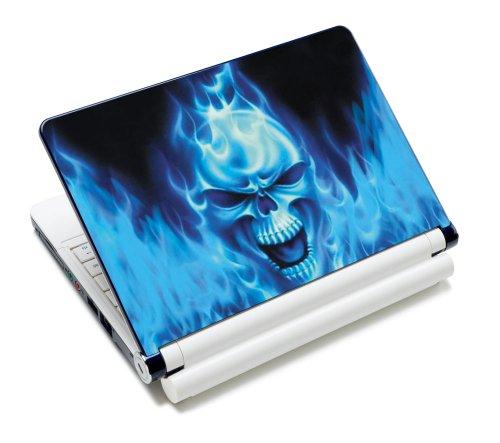 Luxburg® Design Aufkleber Schutzfolie Skin Sticker für Notebook Laptop 10 / 12 / 13 / 14 / 15 Zoll, Motiv: Blaues Feuer Totenkopf