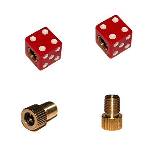 KUSTOM66 2er Set Ventilkappen und 2 Fahrrad Adapter - Gezinkter Würfel - in rot für jedes Fahrrad geeignet
