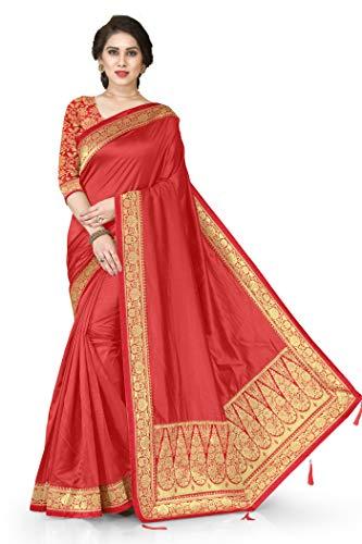 Mirchi Fashion Indische Hochzeitskleidung Designer Pallu Arbeit Sari mit ungenähtem Blusenteil Gr. One size, rot