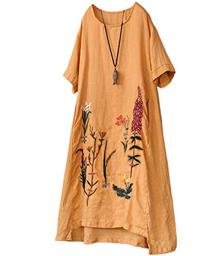YESNO Women Casual Loose Embroidered Linen Tunic Dresses Hi-Low A-Line Sundress Beach Dress with Pockets E79 (L, E79 Ginger)