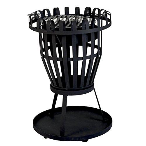 Mediablue Feuerkorb 68cm Feuerschale 48cm aus Stahl XXL und mit Grillrost, pulverbeschichtet in schwarz