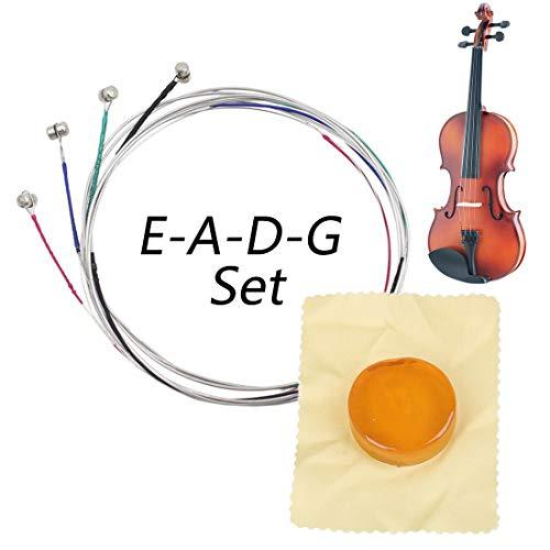 HONGECB Cuerdas de violín, Conjunto Completo Universal (G-D-A-E), Núcleo de acero Níquel-plata Herida con Extremo de Bola Niquelado, con Colofonia Circular Soild, Aptas para Violines 4/4 3/4