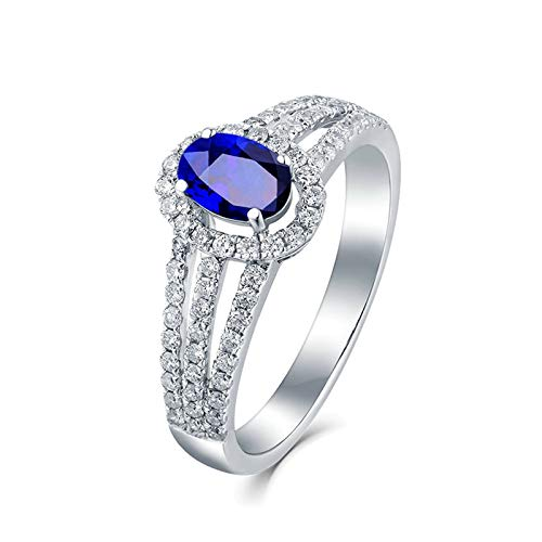 AYDOME Engagement Rings for Her, 1.1ct Sapphire Oval Micro Pave Diamond 18K White Gold Blue Women N 1/2