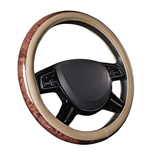 CAR PASS Universal Fit Full Wood Grain Leather Steering Wheel Covers Fit for Suvs,Trucks,Sedans, Anti-Slip Design … (Beige)