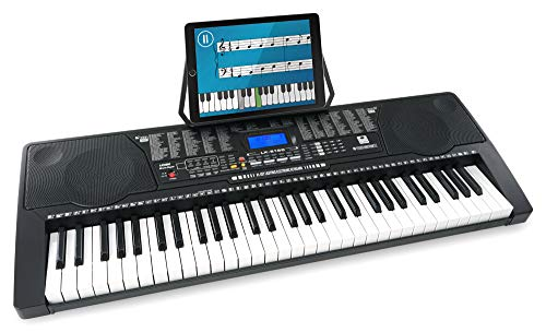 McGrey LK-6150 61 Tasten Keyboard - Einsteiger-Keyboard mit 61 Leuchttasten - 255 Sounds und 255 Rhythmen - 61 Percussion-Sounds - 50 Demo Songs - integrierter MP3-Player - Schwarz
