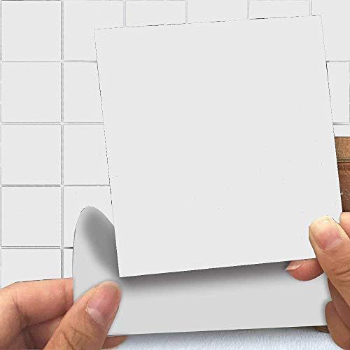Abnaok Lot de 25 autocollants carrés pour carrelage de cuisine ou de salle de bain Blanc 15,2 x 15,2 cm