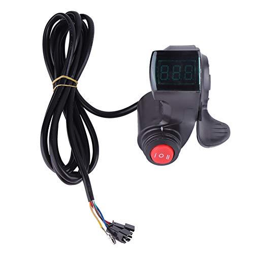 VGEBY Ebike Gashebel, Ebike Gas Daumengas Gaspedal Fahrradgeschwindigkeits Lenker mit LCD Spannung Leistungsanzeige, 3 Gang Schalter