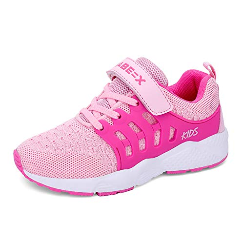 Baskets Enfants Unisexe Garçons Chaussures Respirant Route en Cours Filles Légère Sneakers,Rose,27 EU(Taille Fabricant: 28)