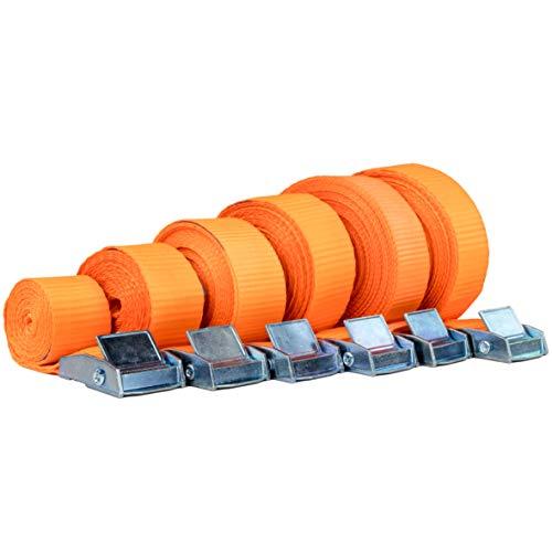 Safetytex Spanngurt Zurrgurt Schnellverschluss Klemmschloss 1 m bis 6 m Verschiedene Längen und wählbare Stückzahl 250kg DIN EN 12 195-2 (4 Stück 2.5 cm x 2 m)