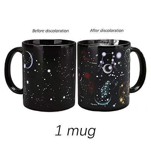 LKU Creative Ceramic Mug Farbwechsel Kaffeetasse Freunde Geschenk Student Frühstückstasse Star Solar System Becher, Sternbild