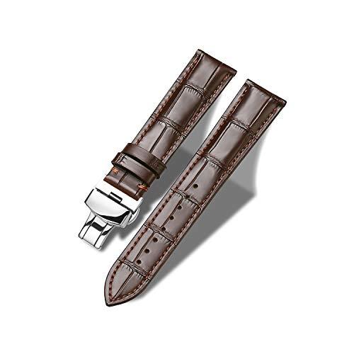 Tristraps Echtes Lederarmband mit Schmetterlings-Faltschließe 12mm 14mm 16mm 18mm 19mm 20mm 21mm 22mm 23mm 24mm Schwarzbraun Ersatz-Uhrenarmband für Herren Damen Wasserdicht Schweißdicht