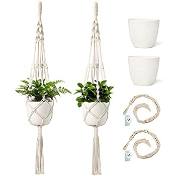 Mkono Macrame Plant Hangers with Pots 6.5 Inch Plastic Planter Included Indoor Hanging Planters Basket Holder   2 Plant Hangers and 2 Flower Pots   41-Inch