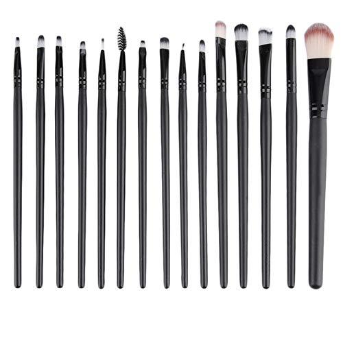 15 pcs/set Kit de maquillage cosmétique beauté professionnelle fard à paupières Foundation Del sourcils lèvres pinceaux de maquillage brosse outils ensemble - Noir
