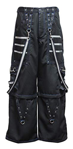 Dead Threads - Black Men's Trouser with Blue Stitching and Metal Rivets S/Blue