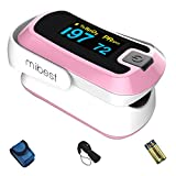 MIBEST Pink Dual Color OLED Finger Pulse Oximeter - Blood Oxygen Saturation Monitor with Color OLED Screen Display and Included Batteries - O2 Saturation Monitor