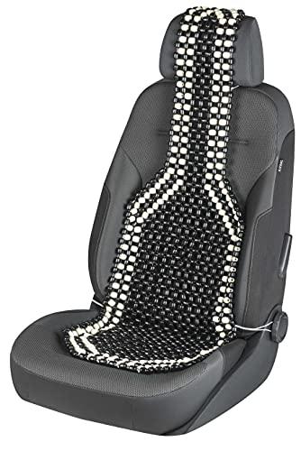 Walser CarComfort Sitzauflage aus Holzperlen, Sitzaufleger Holzkugeln, Massage Autositzauflage Holz, Universal Sitzmatte schwarz/weiß 13551