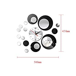 HOYOYO DIY Wall Acrylic Circle Clock Wall Stickers, Modern Acrylic Mirror Surface 3D Simple Big Size Wall Decor Clocks Numbers Stickers for for Living Room Bedroom TV Wall Decoration Removable