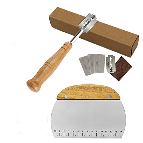 Bread Lame With Wooden Handle-Bread Bakers Lame-Dough Making Slasher Scoring Tools Dough Scraper-Scoring Knife-Bread Lame Razor Blades -Bread Slashing Tool-Dough Making Razor Cutter