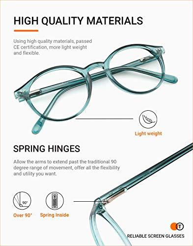TIJN Blue Light Blocking Glasses Men Women Vintage Thick Round Rim Frame Eyeglasses (Seagreen)