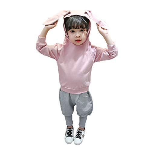 Gyratedream Baby Girls Long Sleeve Rabbit Ear Hoodie Tops+Pants Trouser Costume Set