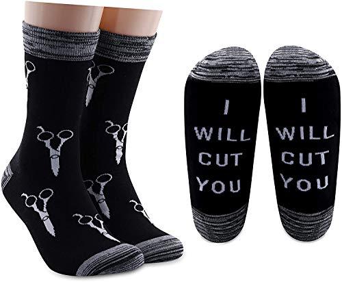 """AATOP Lustige Socken für Friseure, Geschenk für Haarstylisten, mit Aufschrift """"I Will Cut You"""", Baumwoll-Socken für Kosmetologie, Abschlussgeschenk Gr. Einheitsgröße, 2 Paar/Set."""