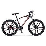 FBDGNG Bicicleta de montaña para adultos 21/24/27S Sistema de engranajes MTB Bicicletas marco de acero al carbono Rueda de 26 pulgadas con freno de disco (tamaño: 21 velocidades, color: azul)