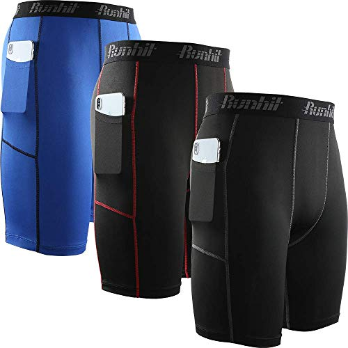 Runhit Men's Compression Shorts with Pockets,Tights Shorts Workout Underwear