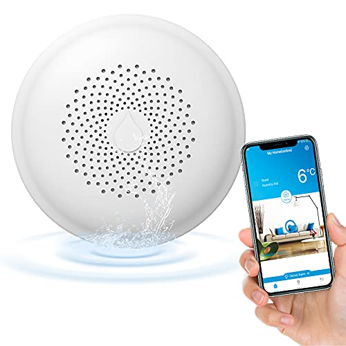Ecoey Smart WiFi Water Sensor Leak Detector, Water Alarm with Replaceable Battery, Low Battery Warning, APP Alerts, for Basement, Home, FJ156A-H14, 1 Pack
