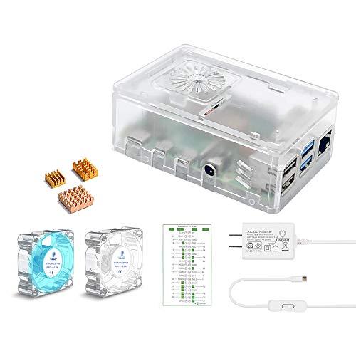 TRASKIT 最新Raspberry Pi 4 ケース 4B研磨PC材質透明ケース ラスベリー パイ4 5.1V/3A Type-C スイッチ付電源 PSE取得 3つヒートシンクと2つの透明静音冷却ファン GPIOリファレンスカード (RPIボードは含まれていません)