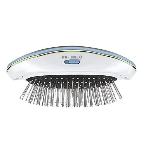 Cepillo de masaje para el cabello, Cepillo antiestático de iones negativos Cepillo de masaje eléctrico Peine para el cuero cabelludo Masajeador Cepillo alisador Funciona con pilas(Azul)