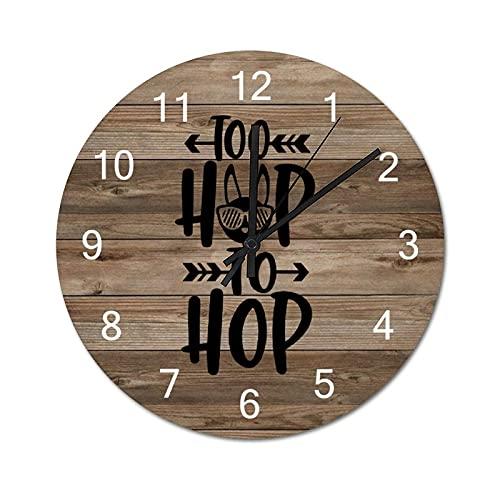 by Unbranded Reloj de pared de madera de 30,5 cm, Too Hip To Hop, Pascua, conejo, caza de huevos, funciona con pilas, relojes de pared rústicos vintage de madera para decoración del hogar