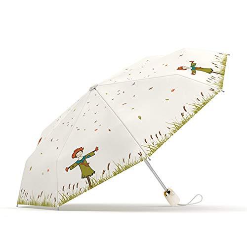 Meiyijia Paraguas Plegable, Abre y Cierra Automáticamente,Paraguas Ultraligero, Protección UV,Doble-Uso Paraguas del Sol/Lluvia,Tela Impermeable y Muy Resistente Conveniente para Viajes,Beige