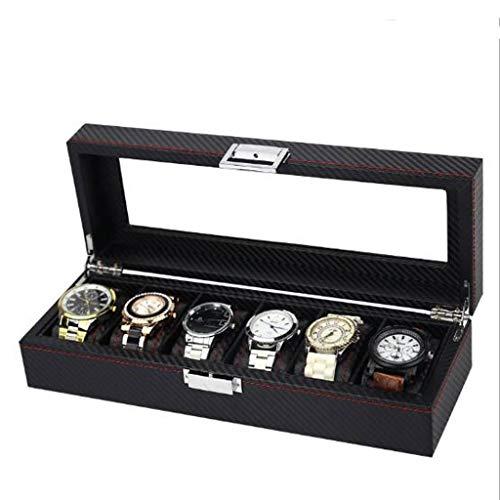 ROLLHDD Uhrenbox for Herren - Luxusvitrine im Kohlefaser-Design mit 6 Slots, großer Halter, Metallschnalle - Schwarz