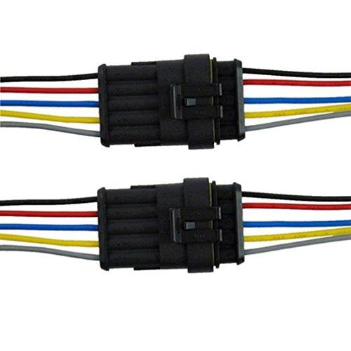 Qiorange 2Pcs 5 Polig Kabel Steckverbinder Stecker Wasserdicht Schnellverbinder KFZ LKW Auto (2Pcs 5-Polig)