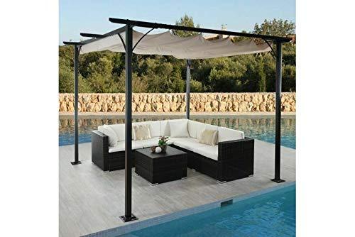 Garten Pavillon Pergola 3x3 m Creme stabil Gartenzelt Partyzelt Terasse Dach neu