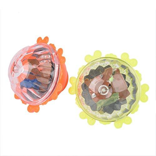 TOOGOO(R) 2 x Toupie en plastique dur avec LED flash en lumiere coloree