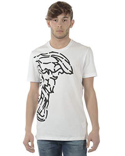 Versace Collection Men's Cotton Medusa Logo Graphic Crewneck T-Shirt White