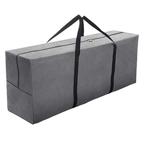 Tvird Aufbewahrungstasche Schutzhülle für Auflagen125x50x32cm 600D Auflagentasche,Gartenauflagen,Polsterauflagen Schutzhülle Tasche mit Tragegriff Reißfest/UV-beständig,für 4 Hochlehnerauflagen