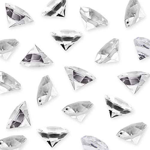 DLOnline 35PCS 32mm Clear Resin Acrylic Diamond,Fake Diamonds Plastic Ice Cubes,Vase Fillers Home Decoration Wedding Display Birthday Decoration Crystals Gem Table Scatters Crystal Clear Resin