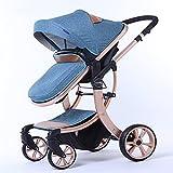 ZKK Cochecito de bebé, nuevo cochecito de bebé de lujo, alta visión tridimensional de cuatro ruedas para viajar, ir de compras, viajar y caminar (color: azul)