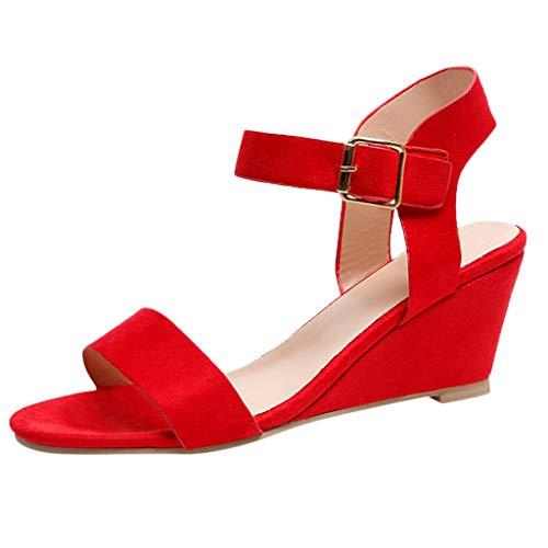 Malbaba Diseo de Moda de Verano para Mujer Correa de tobillo Hebilla Plataforma de cua Baja Tacones Sandalias Zapatos Red