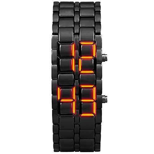 W.zz LED-Licht Bin?re Uhr Sportuhren wasserdicht elektronische zweite Generation Bin?re LED Digitale Damenuhr Legierung Armbanduhr,D