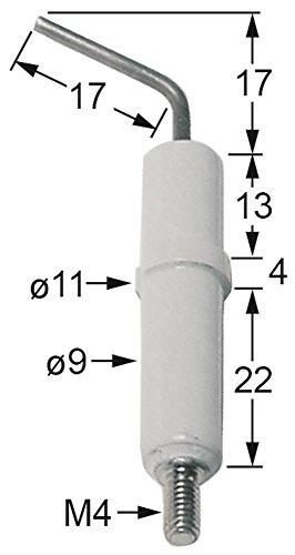 JUNKERS Zündelektrode für Küppersbusch Anschluss M4 Körperlänge1 13mm L1 17mm Körperlänge2 4mm ø 9mm D1 9mm D2 ø 11mm