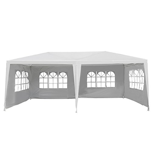 Outsunny Large 10' x 20' Gazebo Canopy Party Tent with 4 Removable Window Side Walls,Wedding, Picnic Outdoor Events-White