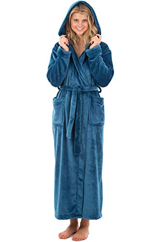 VEAMI Laurel Fleece Hooded Bathrobe, Plush Warm Bathrobe with Hood, 53