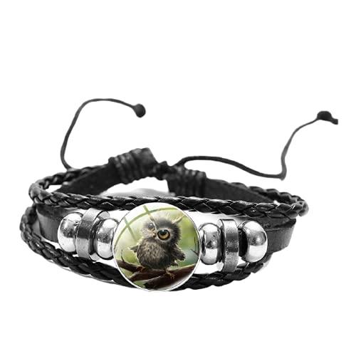 Lindo búho de dibujos animados emparejado pulseras de cuero trenzado de múltiples capas colgantes brazalete accesorios para mujeres joyería de moda regalo