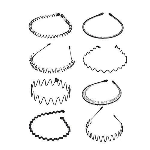 8 diademas de metal con ondas, para el pelo, estilo primaveral, diseño de ondas, color negro, unisex