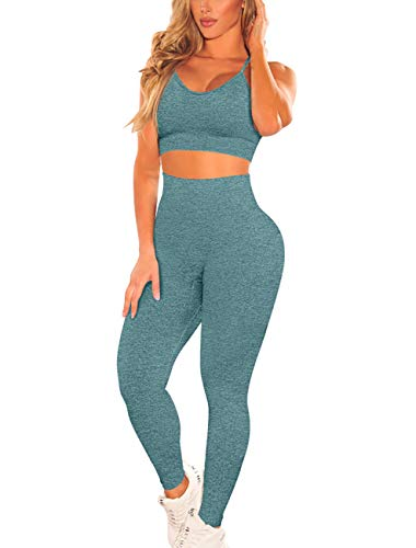 OQQ Womens Seamless Outfit 2 Piece Yoga Leisure Workout Jumpsuit Gym Leggings with Padded Sport Bra Set Green